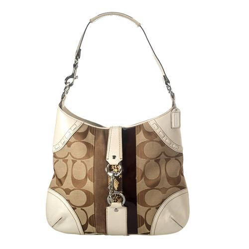 Coach Hamptons Signature Stripe Hobo Handbag