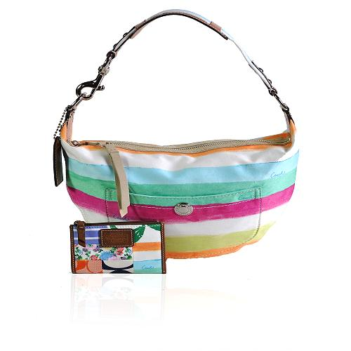 Coach Hamptons Watercolor Stripe Hobo Handbag with Matching Mini Skinny Wallet