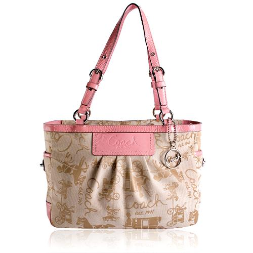 Coach Horse & Carriage Pleated East/West Gallery Tote
