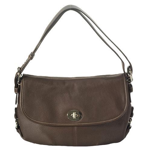 Coach Leather Flap Duffel Handbag