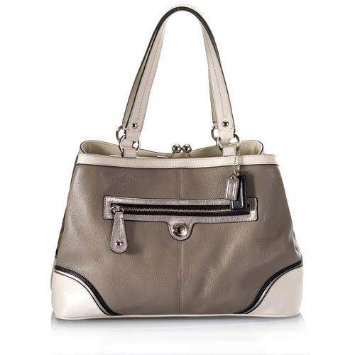 Coach Leather Laura Framed Carryall Tote