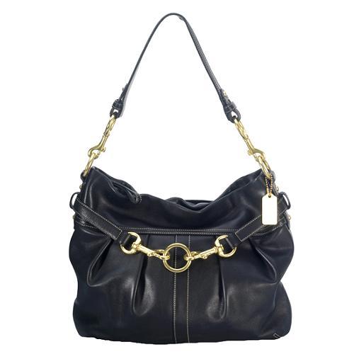 Coach Leather Pleated Hobo Handbag