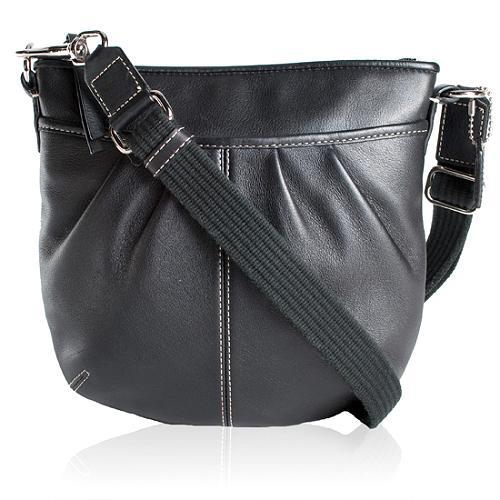 Coach Leather Pleated Swing Pack Crossbody Messenger Bag