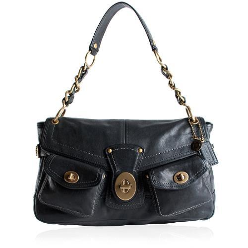 Coach Legacy Leather Leigh Pocket Flap Shoulder Handbag