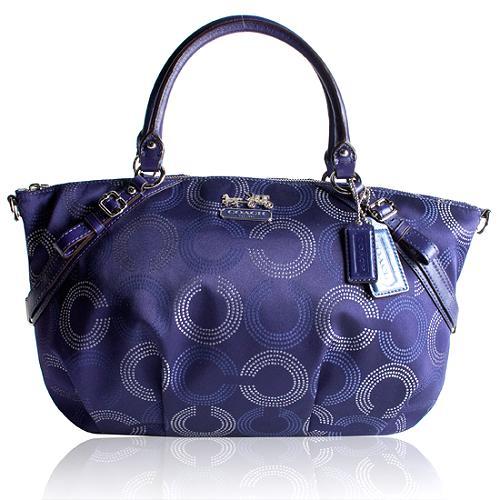 Coach Madison Dotted Op Art Large Sophia Satchel Handbag