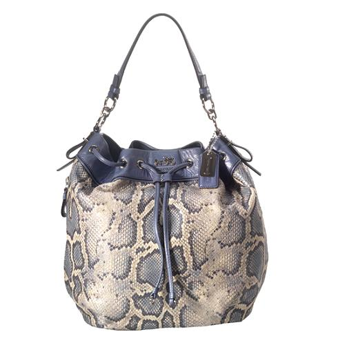 Coach Madison Embossed Python Marielle Drawstring Tote