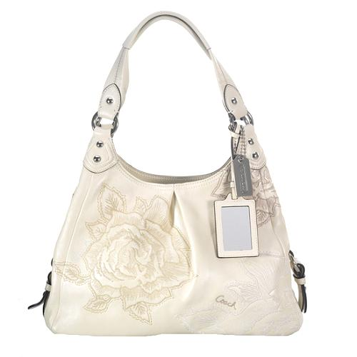 Coach Madison Floral Embroidered Maggie Hobo Handbag