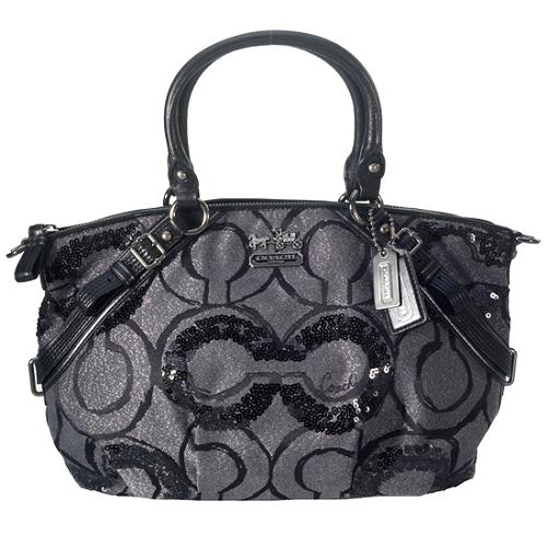 Coach Madison Sequin Op Art Large Sophia Satchel Handbag