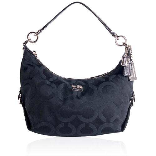 Coach Madison Signature Op Art Hailey Sateen Hobo Handbag