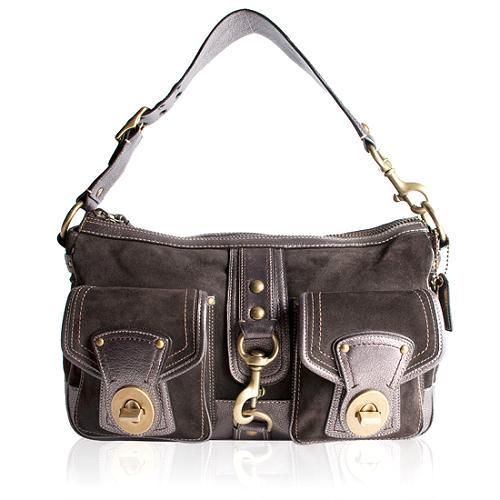 Coach Mandy Suede Courier Shoulder Handbag