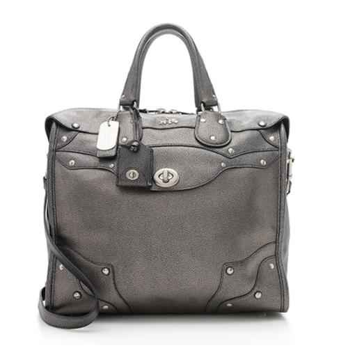 113403c0935f ... cheap coach metallic leather rhyder 33 satchel final sale 67696 c828c