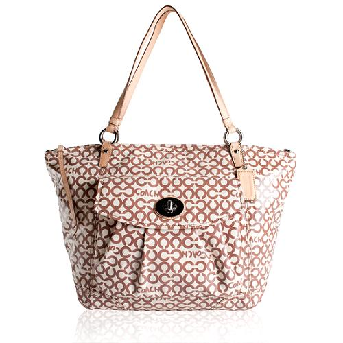 Coach Op Art Coated Canvas Large Leah Tote