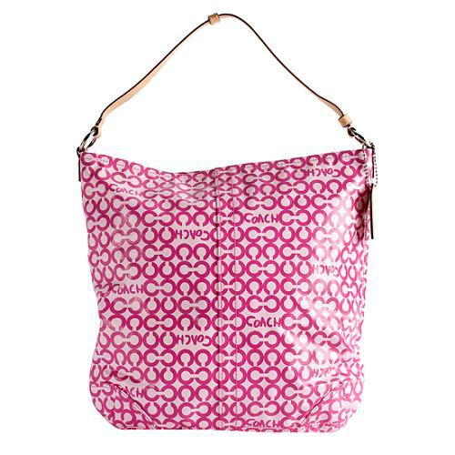 Coach Op Art Coated Canvas Leah Convertible Hobo Handbag