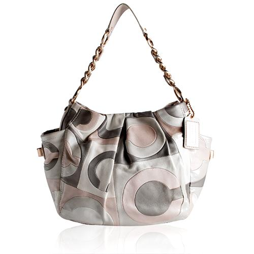 Coach Parker Op Art Pieced Leather Shoulder Handbag