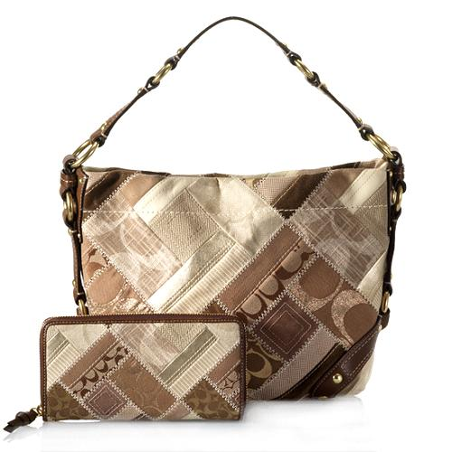 Coach Patchwork Carly Hobo Handbag and Matching Zip Around Wallet