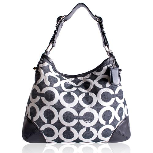 Coach Peyton Canvas Op Art Hobo Handbag