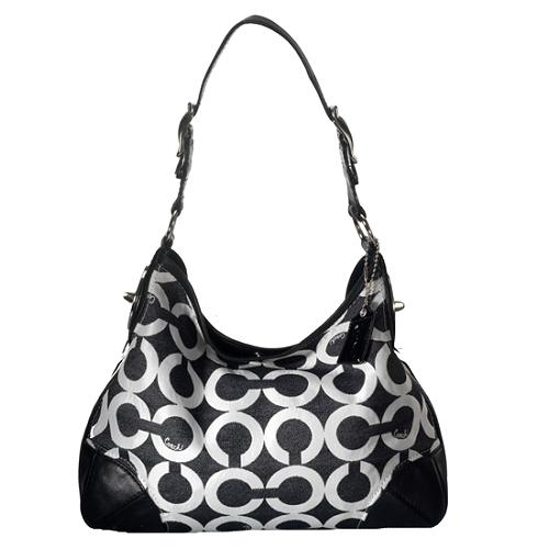 Coach Peyton Op Art Canvas Shoulder Handbag