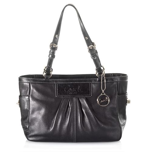 Coach Pleated Leather East/West Gallery Tote