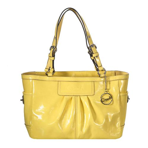 Coach Pleated Patent Leather East/West Gallery Tote