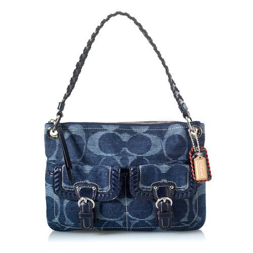 0640532cd6 Coach Poppy Denim Signature Hippie Handbag