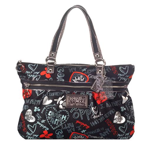 Coach Poppy Graffiti Hearts Glam Tote