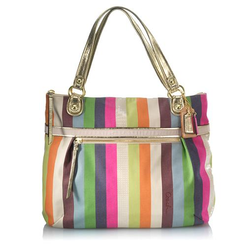 Coach Poppy Legacy Stripe Glam Tote