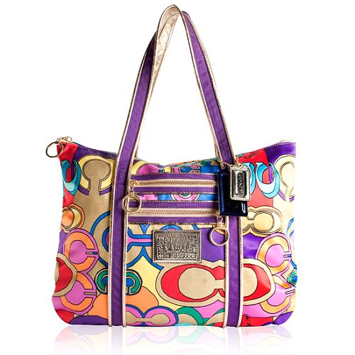 Coach Poppy Pop Signature Glam Shopper Tote