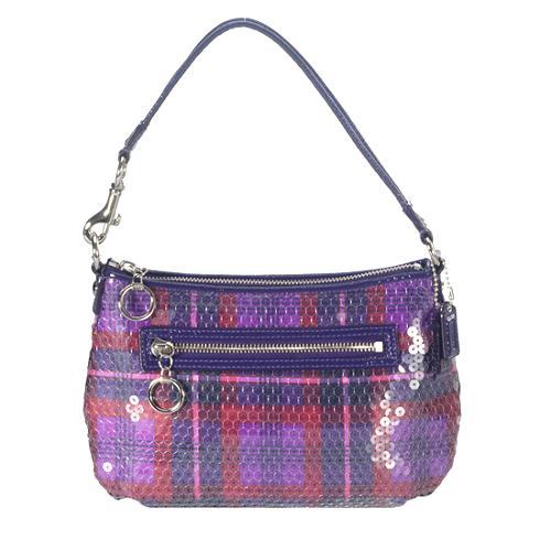 Coach Poppy Sequin Tartan Top Handle Shoulder Handbag