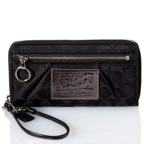 Coach Poppy Signature Zip Around Wallet