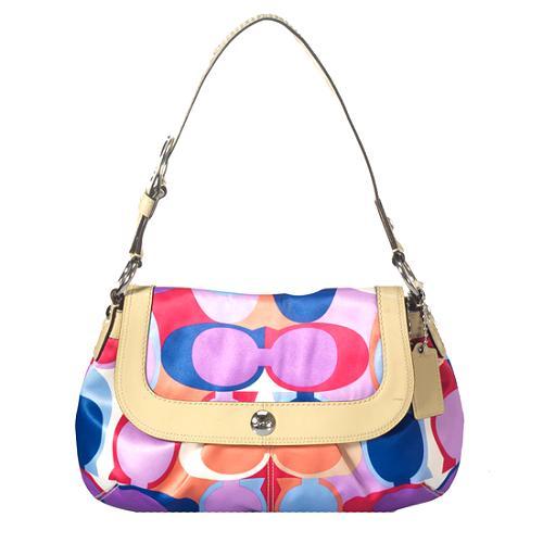 Coach Scarf Print Flap Shoulder Handbag