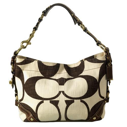 Coach Signature Cotton Canvas Carly Hobo Handbag