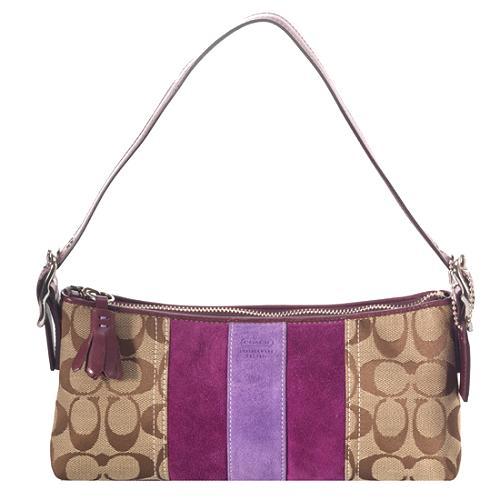 Coach Signature Demi Suede Stripe Shoulder Handbag