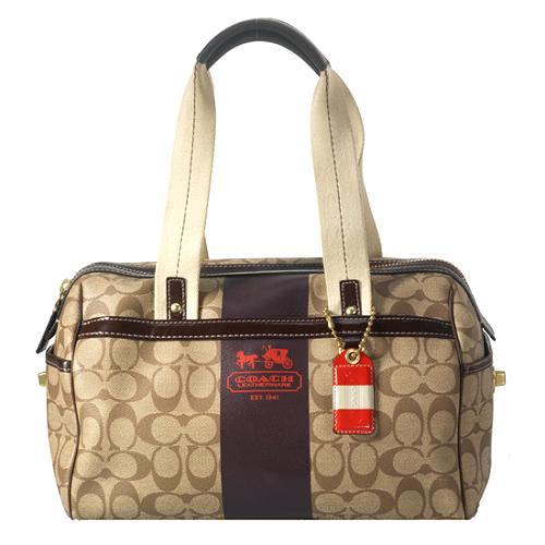 Coach Signature Heritage Stripe Satchel Handbag