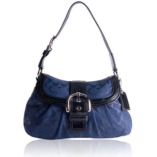 Coach Signature Lurex Flap Shoulder Handbag