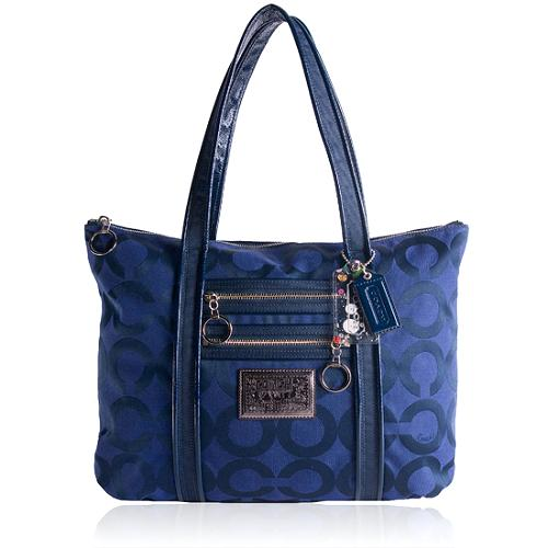 Coach Signature Poppy Op Art C Glam Shopper Tote