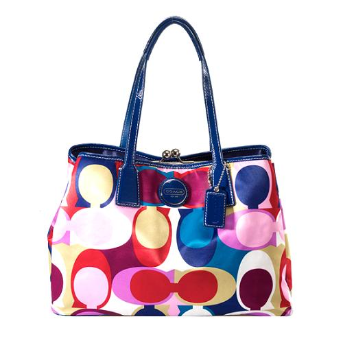 Coach Signature Scarf Print Framed Carryall Tote