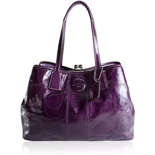 Coach Signature Stitched Patent Leather Framed Carryall Tote