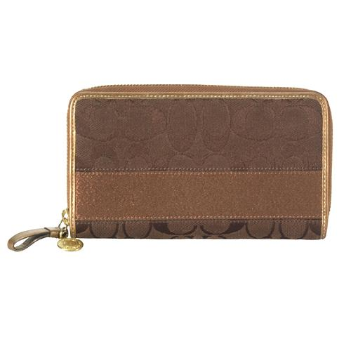 Coach Signature Stripe Accordian Zip Wallet