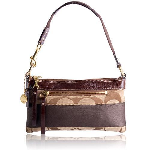 Coach Signature Stripe Demi Shoulder Handbag