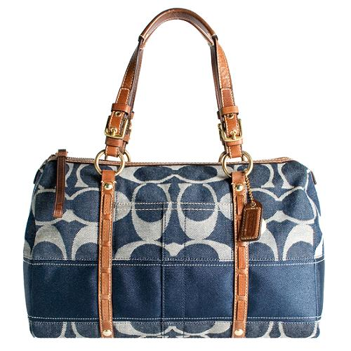 Coach Signature Stripe Denim Satchel Handbag with Matching Wallet and Pouch