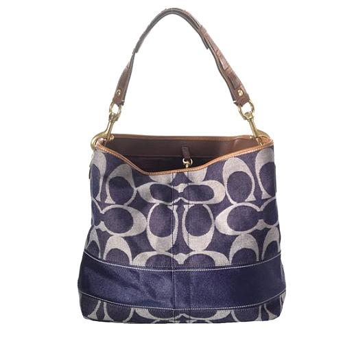 Coach Signature Stripe Denim Shoulder Handbag