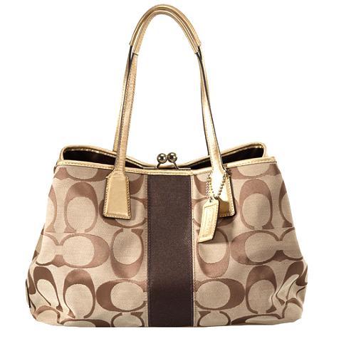 Coach Signature Stripe Frame Kisslock Carryall Satchel Handbag