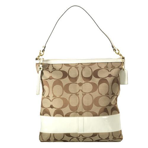 Coach Signature Stripe Patent Convertible Hobo Handbag