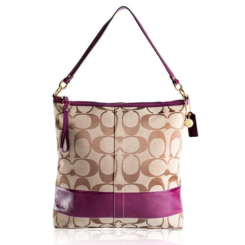 Coach Signature Stripe Patent Convertible Large Shoulder Handbag