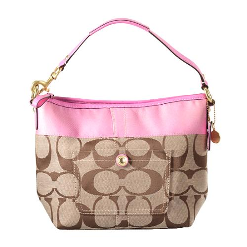 Coach Signature Stripe Shoulder Handbag