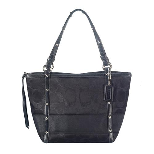 Coach Signature Stripe Studded Lurex Tote