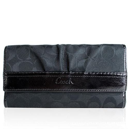 Coach Soho Patent Signature Checkbook Wallet