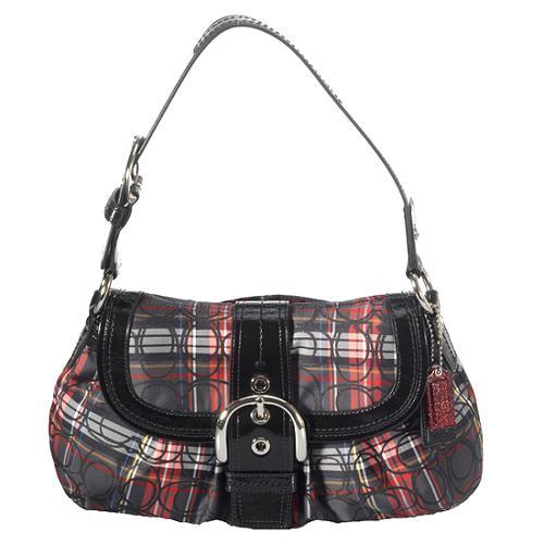 Coach Soho Pleated Tartan Flap Shoulder Handbag