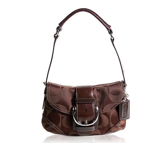 Coach Soho Signature Sateen Small Flap Shoulder Handbag