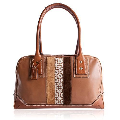 Coach Stripe Satchel Handbag